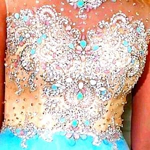 Gorgeous coral and blue beaded dress, this dress i